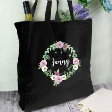 Personalised Floral Black Cotton Bag P0510G15